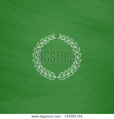 triumph wreath Outline vector icon. Imitation draw with white chalk on green chalkboard. Flat Pictogram and School board background. Illustration symbol