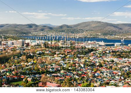 View over Hobart towards the Derwent River in Hobart, Tasmania, Australia