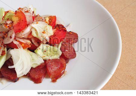 Thai Cuisine: Thai Fusion Food Spicy Sausage Pork Salad.