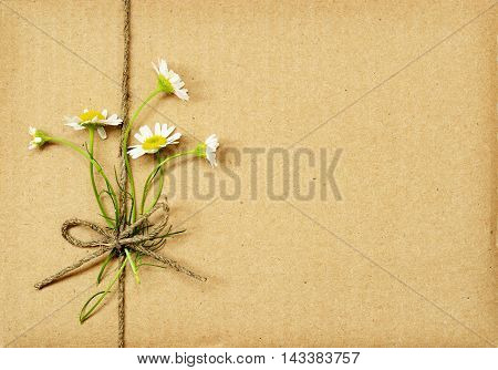 Brown cardboard package tied with daisy flowers bouquet and rope. Summer present.