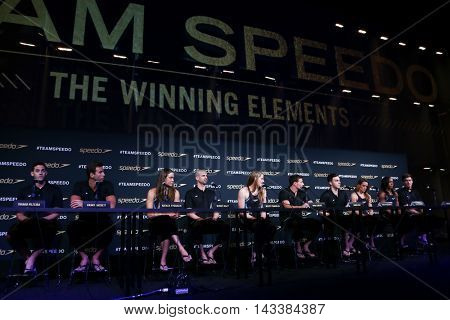 NEW YORK-DEC 15: A view of the atmosphere during the New York launch of Team Speedo and Speedo's Fastskin LZR Racer X at SIR Stage37 on December 15, 2015 in New York City.