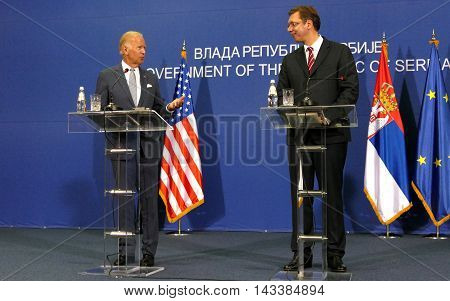 Belgrade Serbia. 16th August 2016. US Vice President Joseph 'Joe' Biden and Serbian PM Aleksandar Vucic holds a joint press conference