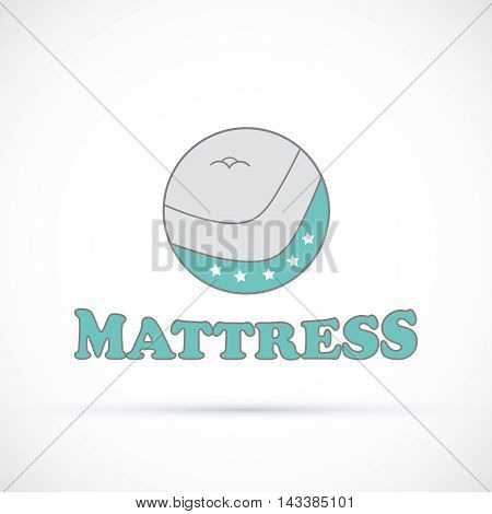Logo round sign matress shop vector illustration