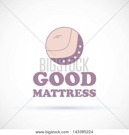 Logo pink and violet matress concept shop vector illustration