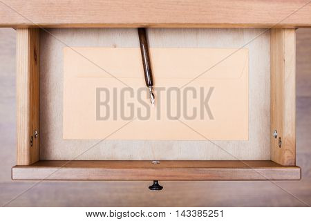 Nib Pen, Paper Envelope In Open Drawer