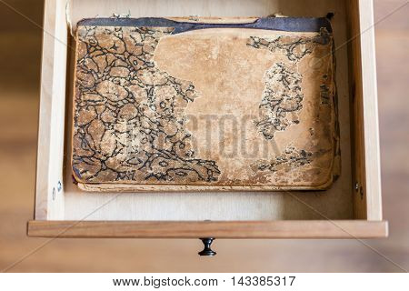Shabby Book In Open Drawer