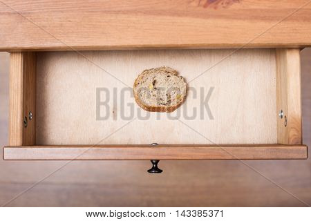 Slice Of Bread In Open Drawer
