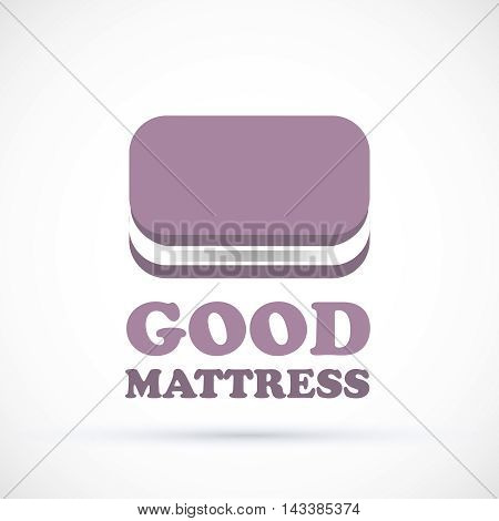 Logo purple sign matress shop vector illustration