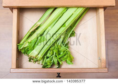 Celery Stalks In Open Drawer