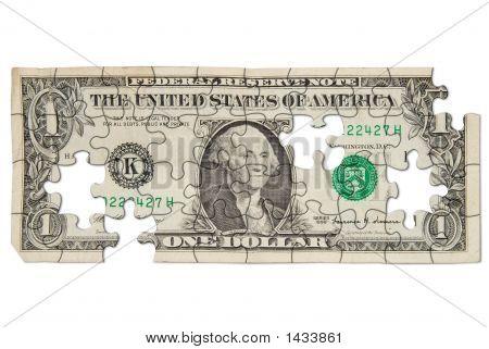 Worn One Dollar Bill