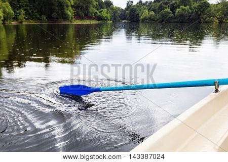 Boating With Oars In City Pond In Summer