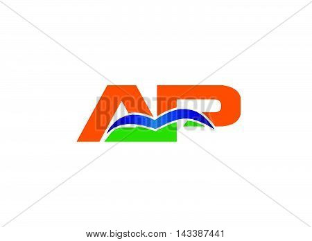 AP logo. Letter a and P logo vector