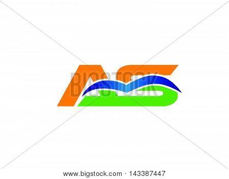 Elegant black and gold alphabet A and S letter logo. Vector illustration