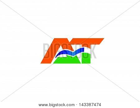 AT logo. Elegant black and gold alphabet A and T letter logo. Vector illustration