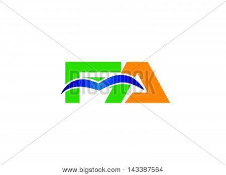 AF company linked letter logo design template