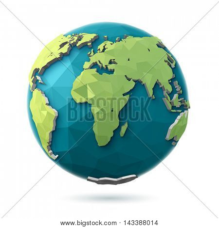 3D rendering. Polygonal style illustration of earth.