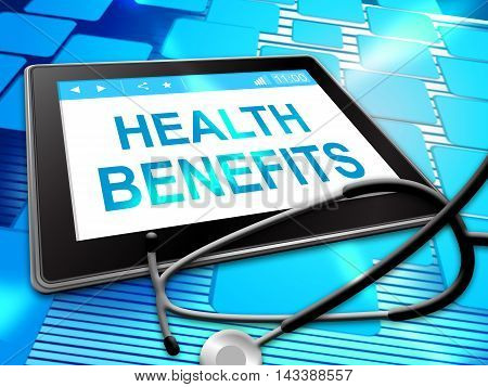 Health Benefits Represents Medical Perks 3D Illustration
