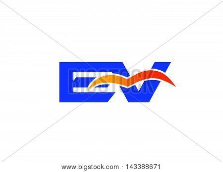 EV Logo. EV company linked letter logo