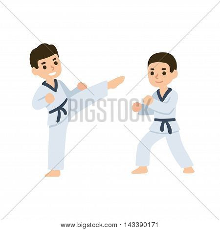 Cartoon kids training martial arts in kimono uniform. Karate or taekwondo character illustration.