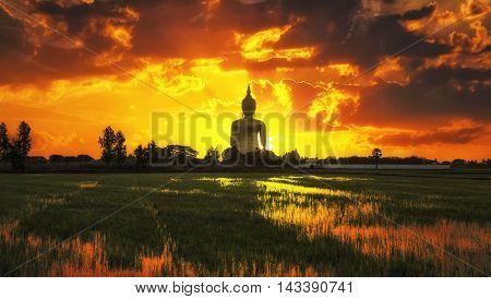 The Big Golden Buddha on sunrise at Wat Muang Ang Thong Thailand