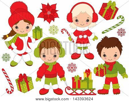 Vector Christmas little kids with gift boxes candy sticks in colorful coats