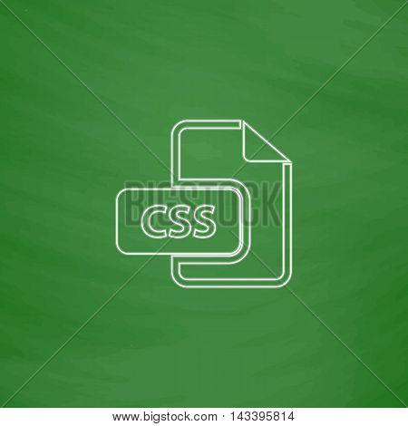 CSS Outline vector icon. Imitation draw with white chalk on green chalkboard. Flat Pictogram and School board background. Illustration symbol