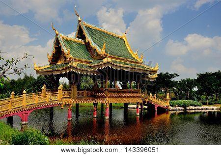 Samut Prakan Thailand - January 15 2013: The Sala of Ten Reincarnations bridge at Ancient Siam heritage park