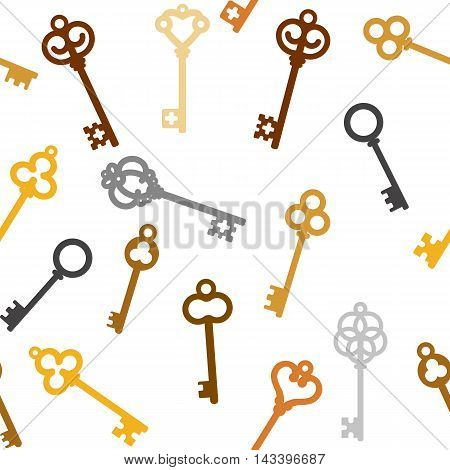 Seamless pattern vintage skeleton keys white background