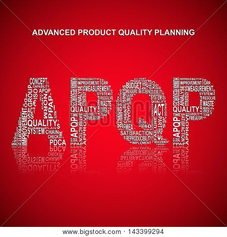 Advanced product quality planning typography background. Red background with main title APQP filled by other words related with advanced product quality planning method. Vector illustration