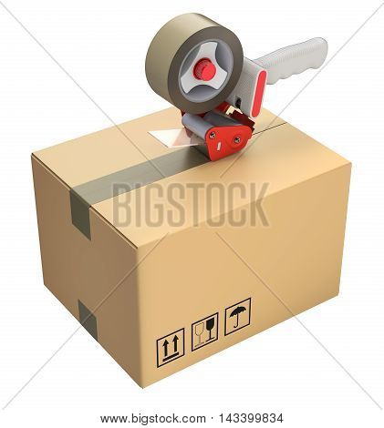 Packaging tape dispenser and cardboard box isolated on white background - 3D illustration