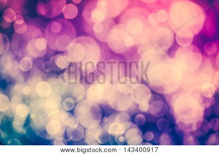 Christmas New Year Background. Purple Bokeh Abstract Background. Vintage Tone Effect.