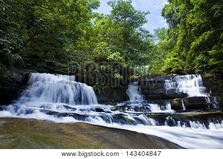 Beautiful waterfalls HUANG NUM KEAW WATERFALL KOH KOOD TRAT THAILAND.