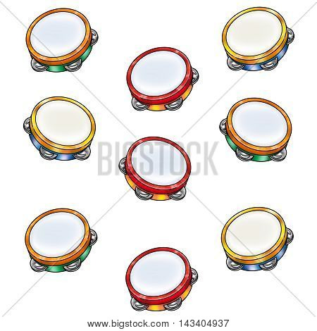 Kids musical tambourine pattern. Tambourine isolated on white background. Timbrel Festive pattern. Music Kids Holiday, Autumn, Summer, Spring, Winter Event.