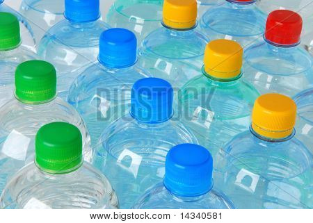 Plastic bottles with colorful caps