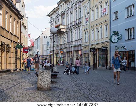JELENIA GORA POLAND - AUGUST 19 2016: Tourists In Downtown In Jelenia Gora Poland