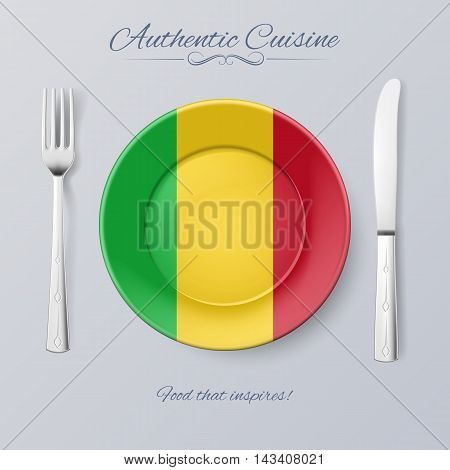 Authentic Cuisine of Mali. Plate with Malian Flag and Cutlery, vector