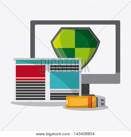 computer shield usb document, cyber security system technology icon. Flat design. Vector illustration