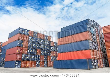 colorful of container stacking in freight yard transport concept