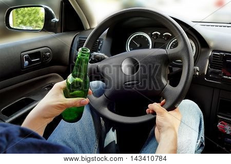 Unrecognizable Man Drinking And Driving. Dangerous Driving Concept.