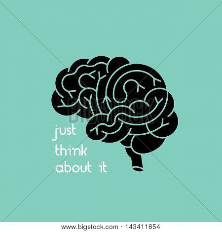 Isolated human brain logo. Vector logo of human brain view. Brain outline logo for medical design or education. Vector brain icon isolated on white.
