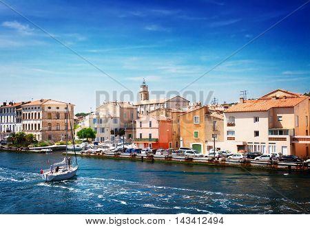 old harbor of Martigues, Provence, Cote dAzur of France, toned