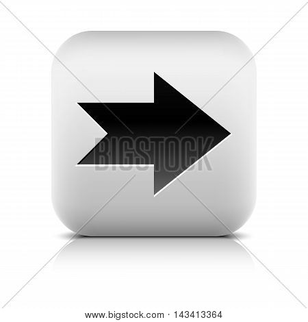 Web icon with black arrow sign. Rounded square button with shadow reflection on white background. Series in a stone style. Vector illustration graphic design element save in 8 eps