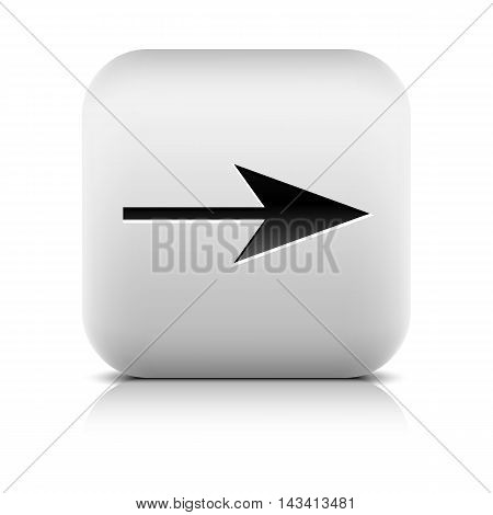 Gray icon with black arrow sign. Series in a stone style. Rounded square button with shadow reflection on white background. Vector illustration graphic design element save in 8 eps