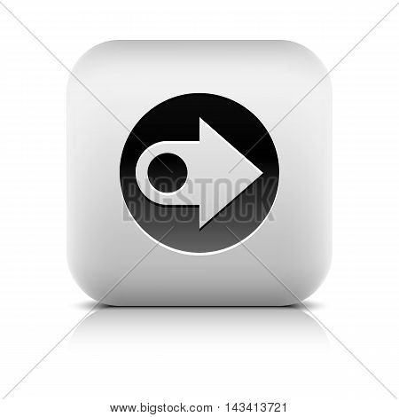 Icon with black arrow sign in circle. Series in a stone style. Rounded square button with gray shadow reflection on white background. Vector illustration graphic internet web design element in 8 eps