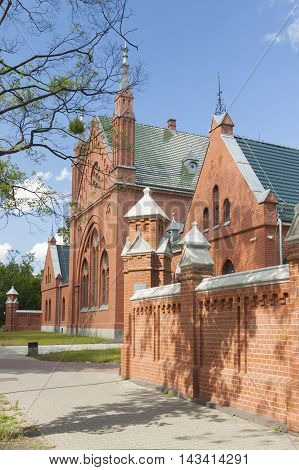 Poland Gliwice Disused Restored Funeral House at Jewish Cemetary currently a museum poster