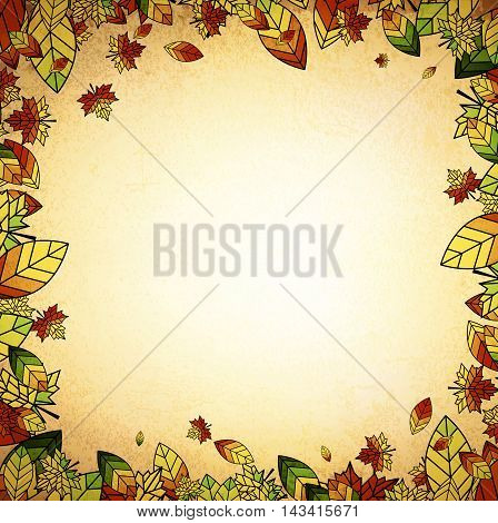 Multicolored Autumn Leaf Border Vintage Background Copyspace
