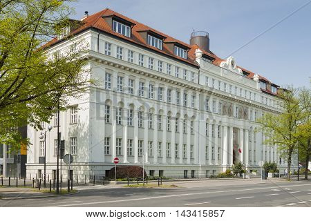 Poland Upper Silesia Gliwice Administrative Court Building sunlit in springtime poster