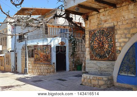 Safed, Upper Galilee, Israel - July 19: old stone house in the quarter of artists of of the old city Safed on July 19, 2016, Upper Galilee, Israel