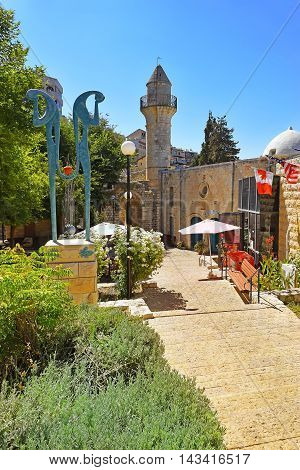 Safed Upper Galilee Israel - July 19: old turkish mosque in the quarter of artists of of the old city Safed on July 19 2016 Upper Galilee Israel
