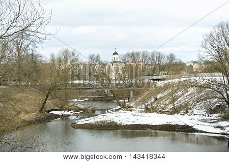 Riverbed of the little river Tmaka that flows next to Temple of the Holy Prince Mikhail of Tver